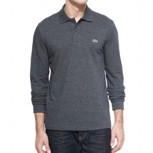 Lacoste charcoal long sleeve pique polo shirt!